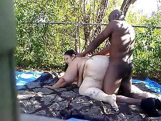 Bbw Black Big Ass video: Backyard fun.....