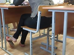 schoolgirl shoeplay flats in the lesson