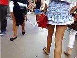 candid voyeur gorgeous model blue ruffle skirt