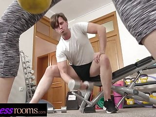 Fitness Rooms Fit sporty Russian flirting in gym loves cock