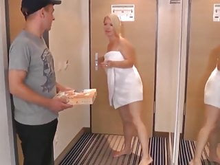 Blowjob Big Tits Milf video: Young Pizza Guy Seduced By Naughty and Busty Mature MILF