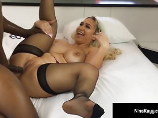 Black And Ebony Interracial Stockings video: Hot Nympho Nina Kayy Is Mega Buttfucked By A Big Black Cock!