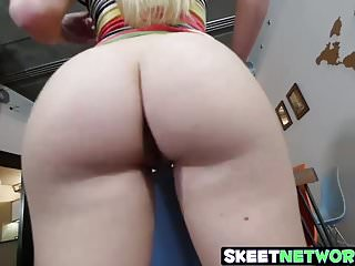 Hot curvy blonde blows a fat latin cock at home for cash