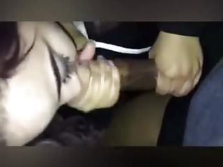 Amateur Interracial Giving video: White girl giving sloppy head to BBC