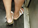 Candid mature lady white toes