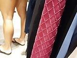 Candid voyeur milf with hot legs and feet shopping