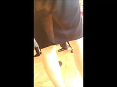 HOT ASS Mom See Through Work Skirt MILF