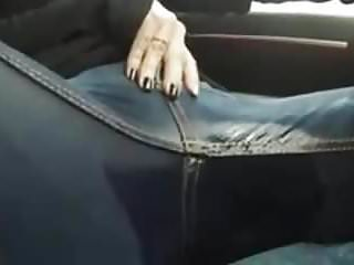 Masturbation Voyeur Pissing video: Peeing  and rubbing in my jeans in the car and moaning