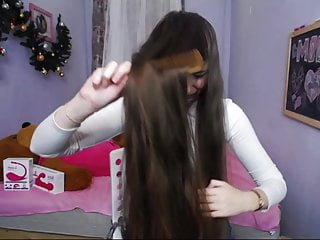 .Fantastic Long Haired Teen Hairplay, Hairbrush, Hairstyle.