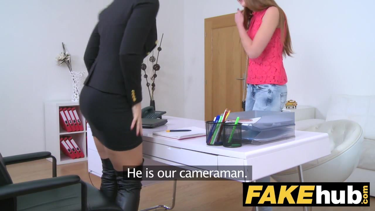 Female Agent Hot redhead makes blonde sexy cum with hr mouth