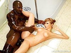 Big Trouble In Bathroom 3D Interracial