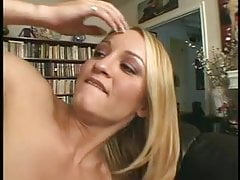 Blonde slut in bikini and heels takes black cock on couch