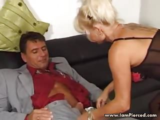 Matures Milfs video: I am Pierced MILF with pussy piercings in black stockings