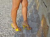 11 Walking around in yellow strappy high heel sandals v2