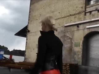 Blondes Closeups video: Nice Lady in red leather pants and mini skirt