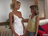 Tanned blondie and her bf's mom toying snatches