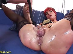 redhead chubby Milf gets anal pumped