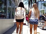 Candid voyeur hot long leg latina teen in tiny shorts