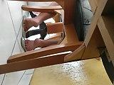 Candid soft crunch soles girl foot in flip flops mature feet