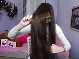Fantastic Long Haired Teen Hairplay, Hairbrush, Hairstyle