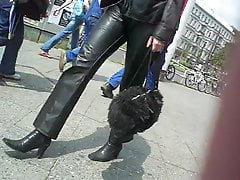Leatherrette Berlin Street Candid w Miss Sixty part 1