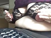 Mature saggy tits at computer