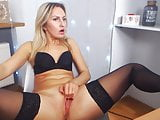 Teen pussy play & orgasm in stockings