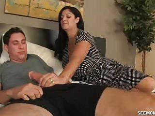 Big Titted Step Mom Catches Young Guy Jerking