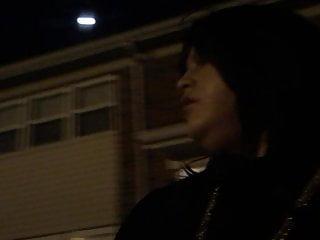 I am enjoying walking outside at night to my car.