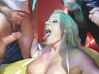 Busty blonde anal gangbanged by 4 men