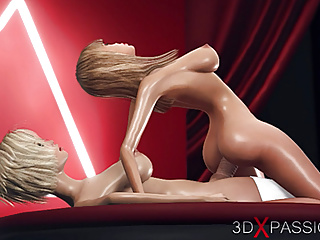 Hd Videos video: 3d shemale dickgirl plays with a hot horny blonde