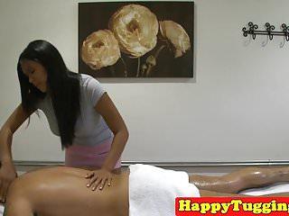 Bigtitted oriental masseuse wanks on spycam