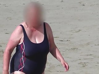 Bbw Grannies Voyeur video: huge tits bbw granny in the blue swimsuit