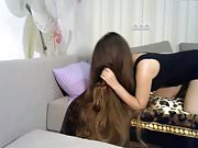 Fantastic Long Haired Playing with Hairbrush, Long Hair