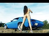 beautiful sexy Irene and a blue Pontiac