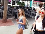 Candid voyeur 2 thick hot teens walking in shorts