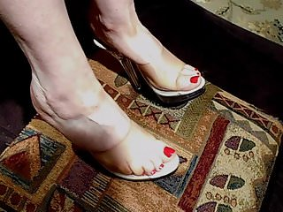 Footjob High Heels Wife video: Clear Platforms Shoejob 01
