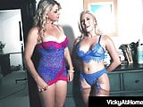 Blonde Milf Beauty Vicky Vette Rubs Hitachi With Cristi Ann!
