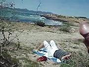public masturbation cum on the beach