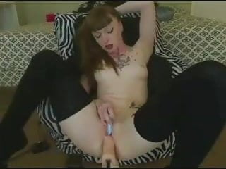 Tattooed goddess is machined fucked to a hot orgasm