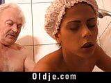 Grandpa fucking horny hot creole teen under shower