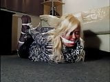 Blonde bbw nylon gagged with panties and hogtied