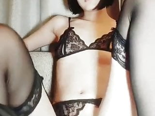 Real chinese nudity model in sexy lingerie seduce...