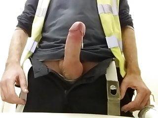 Jobsite wanking amp cum huge in safety vest...