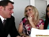 Bigtitted cfnm milfs in trio cocksucking
