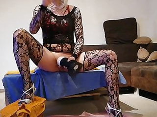 GeilesLuderLea masturbates in nylon stockings until she cums