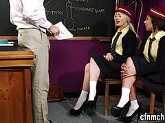 Uniformed Brits tug and suck naked teacher