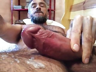Sexy hairy and huge cock cumming...