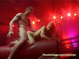 Wild public sex stage...