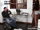Taboo babe distracts older guy with blowjob